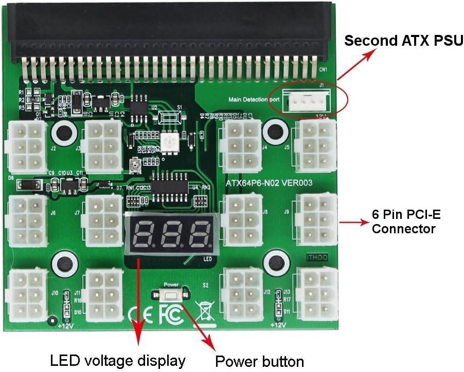 [Mega1Comp] PCI-E 6 Pin, Ethereum ETH ZEC Mining GPU 1200w/750w PSU Breakout Board 12V for DPS-1200FB DPS-1200QB PS-2751-5Q HSTSN-PL12 DPS-700LB PS-2112-5L DPS-750RB DL580 Series (Green)