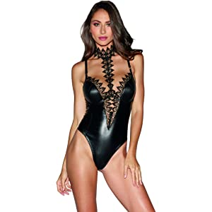 54acb4d9f5 Dreamgirl Women s Faux-Leather Teddy Bodysuit with Ornate Lace Choker