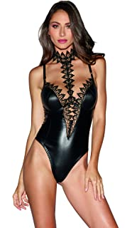 a10022d662b Dreamgirl Women s Faux-Leather Teddy Bodysuit with Ornate Lace Choker