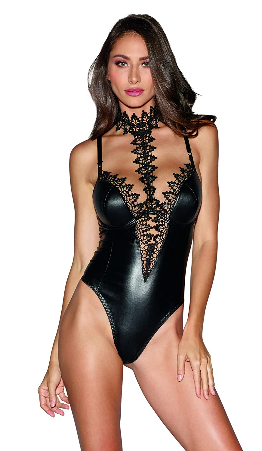 Dreamgirl Women's Faux-Leather Teddy Bodysuit with Ornate Lace Choker 10985-BLK-$P
