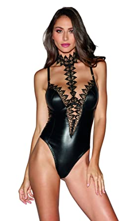 f802730beb Dreamgirl Women s Black Faux-Leather Teddy Bodysuit with Ornate Lace Choker  - XSmall