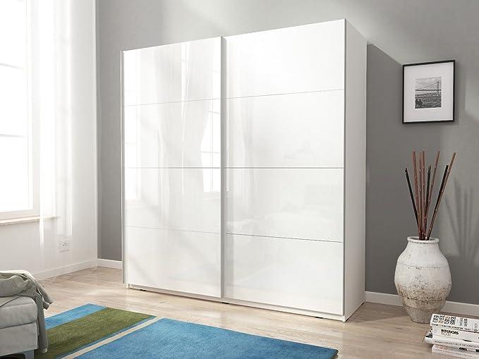 Mia 7 blanco/negro – puertas brillante diseño moderno armario correderas 150 cm 5 ft: Amazon.es: Hogar