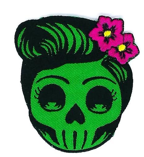Flor Azúcar calavera (verde) día de los muertos Lady jinete parche ideal para tu