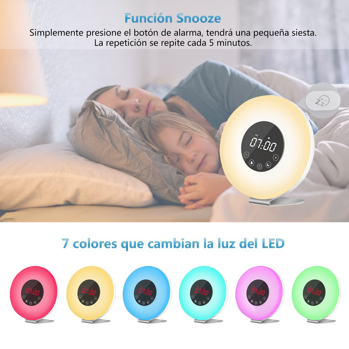 Wake Up Light Despertador Luz - AUELEK Luces Despertador, Simulación de Amanecer y Atardece, 7 Luces de Colores, 6 Sonidos Naturales,10 Niveles de ...