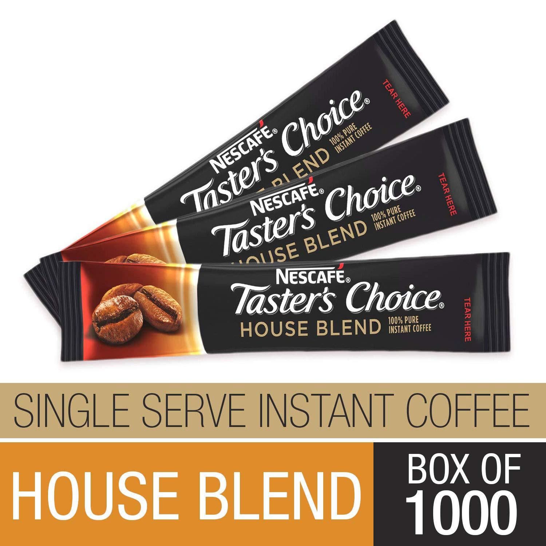 Nescafe Instant Coffee, Ground Coffee, Single Serve, Light Roast, Tasters Choice, 1.5 g Packets (Box of 1000) by Nescafe Coffee