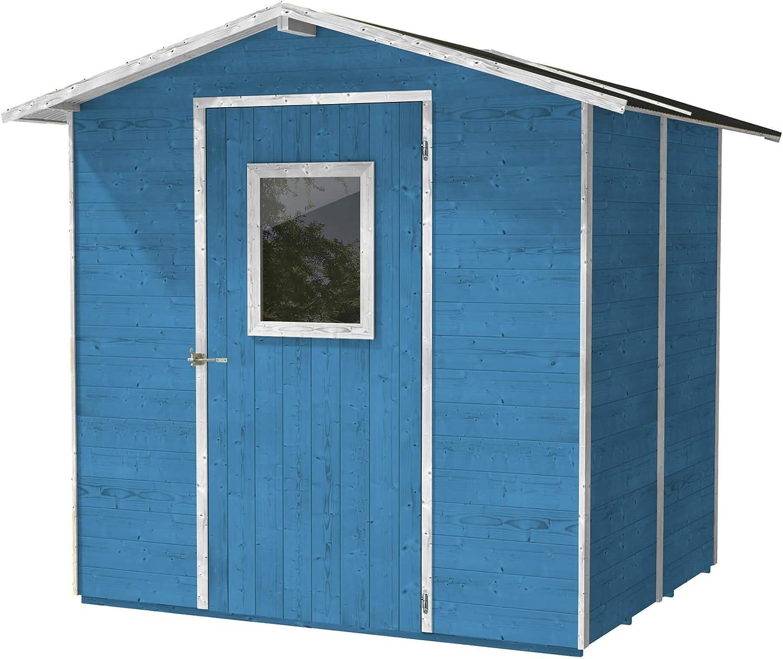 Casita Box Caseta de Madera Azzurra para Herramientas con Puerta y Ventana 200 x 167 x 214 cm: Amazon.es: Jardín