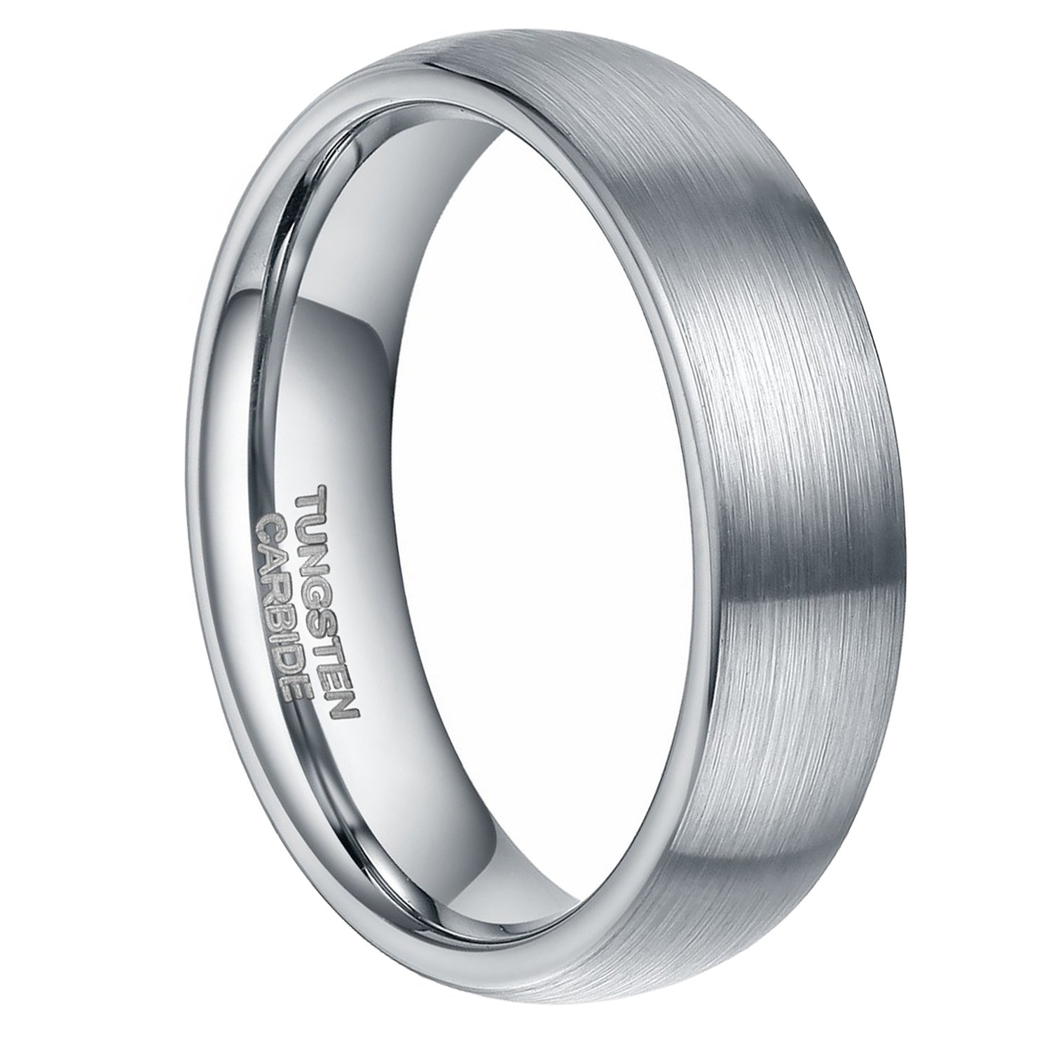 Greenpod 6mm Tungsten Carbide Wedding Band Ring Domed Round Brushed Comfort Fit Size 6