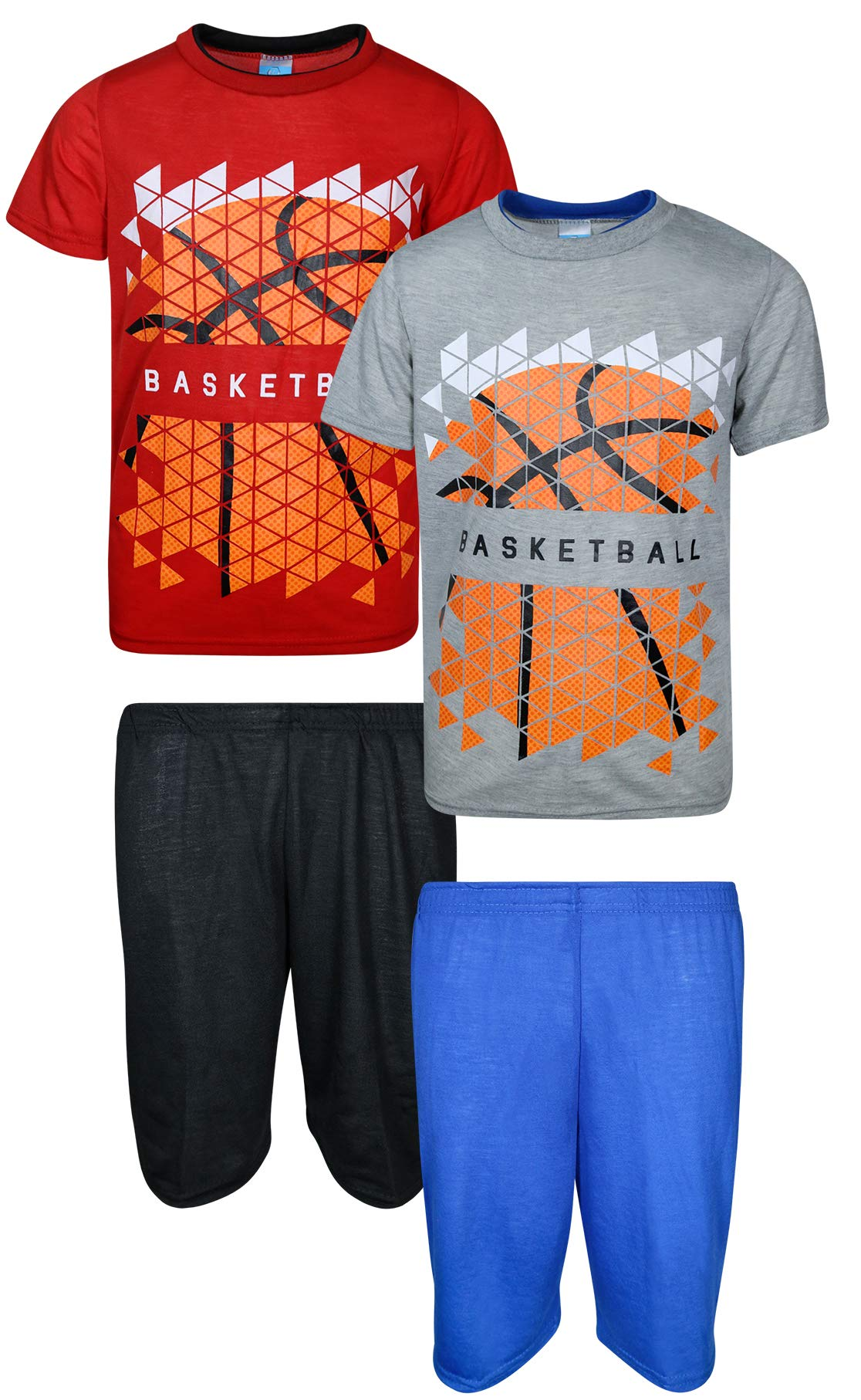 Tuff Guys 4-Piece Comfortable T-Shirt and Short Pajama Set, Basketball, Size 8