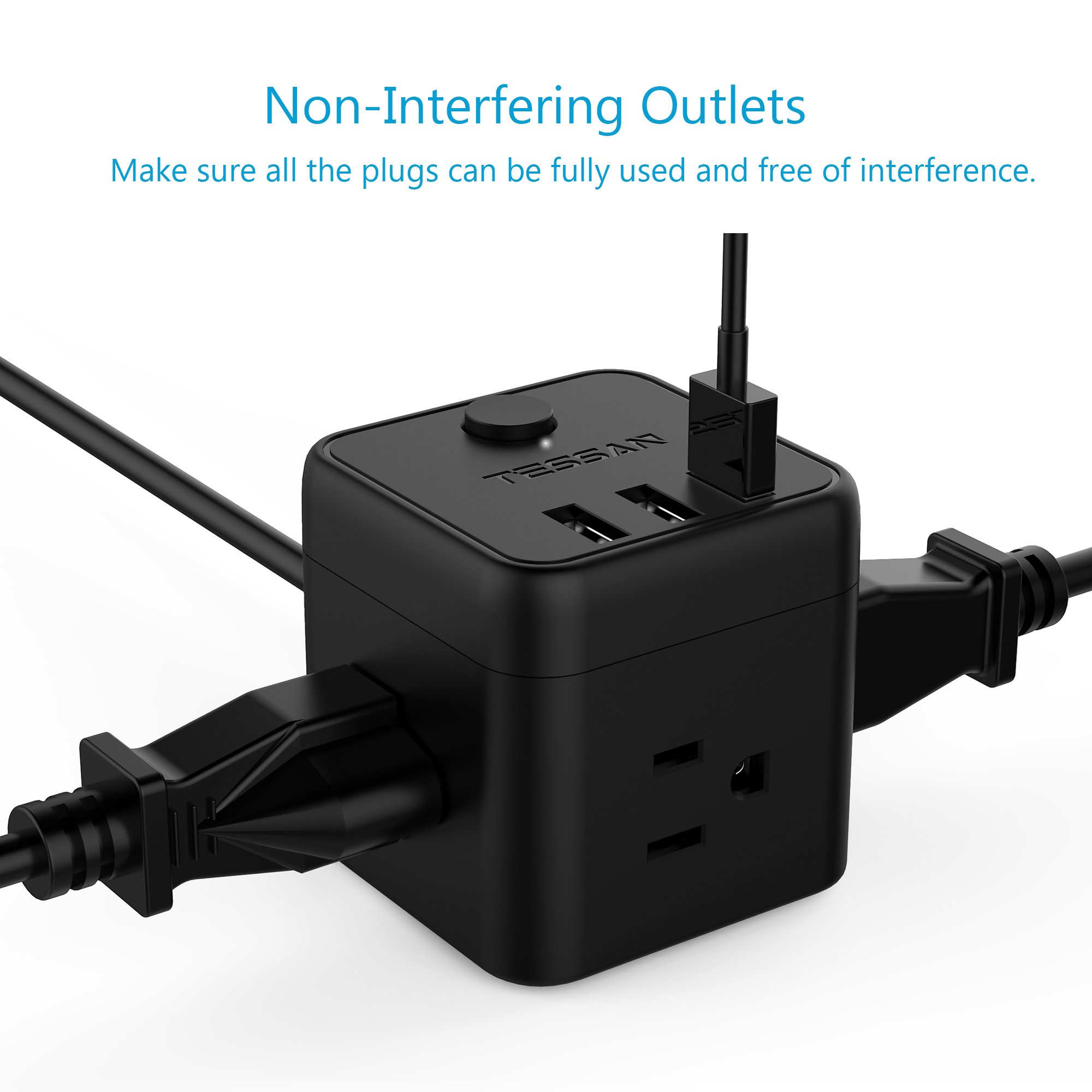 Portable Cube Power Strip with 3 USB Port & Switch Control, 3 Outlet Charging Station with 5 Ft Extension Cord for Nightstand & Desktop & Travel - Black by TESSAN (Image #2)