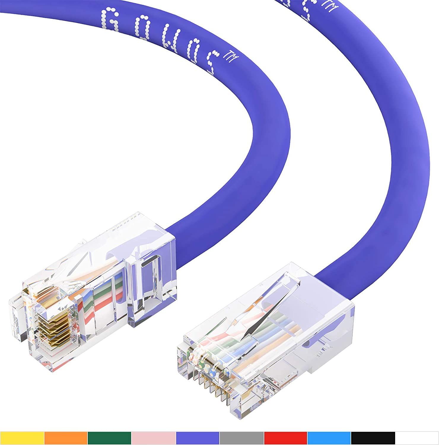 6 Feet - Purple 24AWG Network Cable with Gold Plated RJ45 Non-Booted Connector GOWOS Cat5e Ethernet Cable 350MHz 1Gigabit//Sec High Speed LAN Internet//Patch Cable