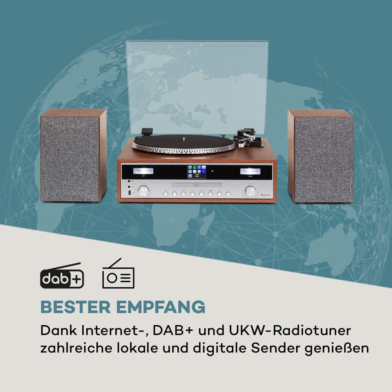 AUX-Eingang 2 Geschwindigkeiten von 33 /& 45 Umdrehungen pro Min Internet//DAB+//FM Radiotuner CD-Player Plattenspieler Bluetooth auna Birmingham HiFi Stereo-System 2 x 50 W max
