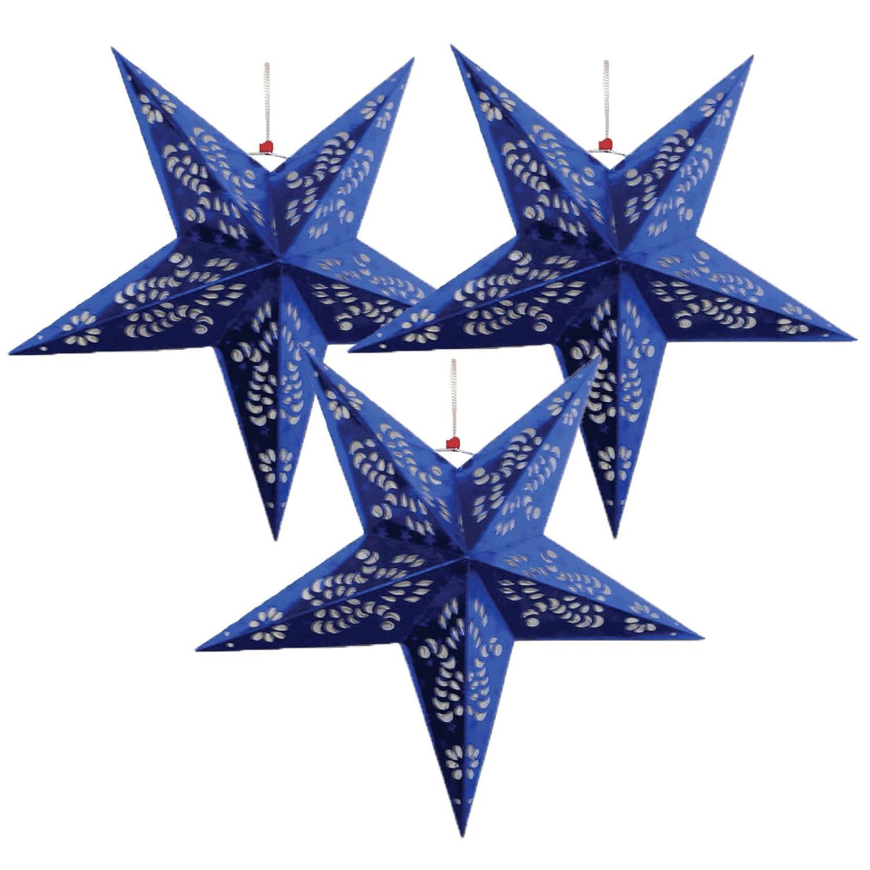 Justアーティファクト – Star Shaped Paper Lantern /ランプHanging Decoration – ( 36inch ,ブルー) – Vary Set of 3 ブルー Set of 3  B01LW7Y8DT