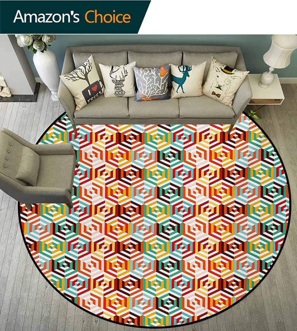 RUGSMAT Geometric Non-Slip Area Rug Pad Round,Abstract Cubes Isometric Hexagonal Shaped Pattern Colorful Retro Design Print Protect Floors While Securing Rug Making Vacuuming,Diameter-55 Inch by RUGSMAT (Image #3)