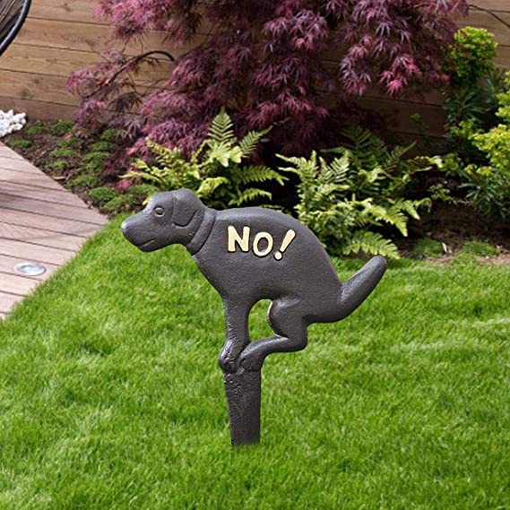 Grass Lawn Garden Decoration 7.8 x 10.6 Cast Iron No Pooping Dog Signs,Black Eidoct No Dog Pooping Solid Cast Iron Yard Sign