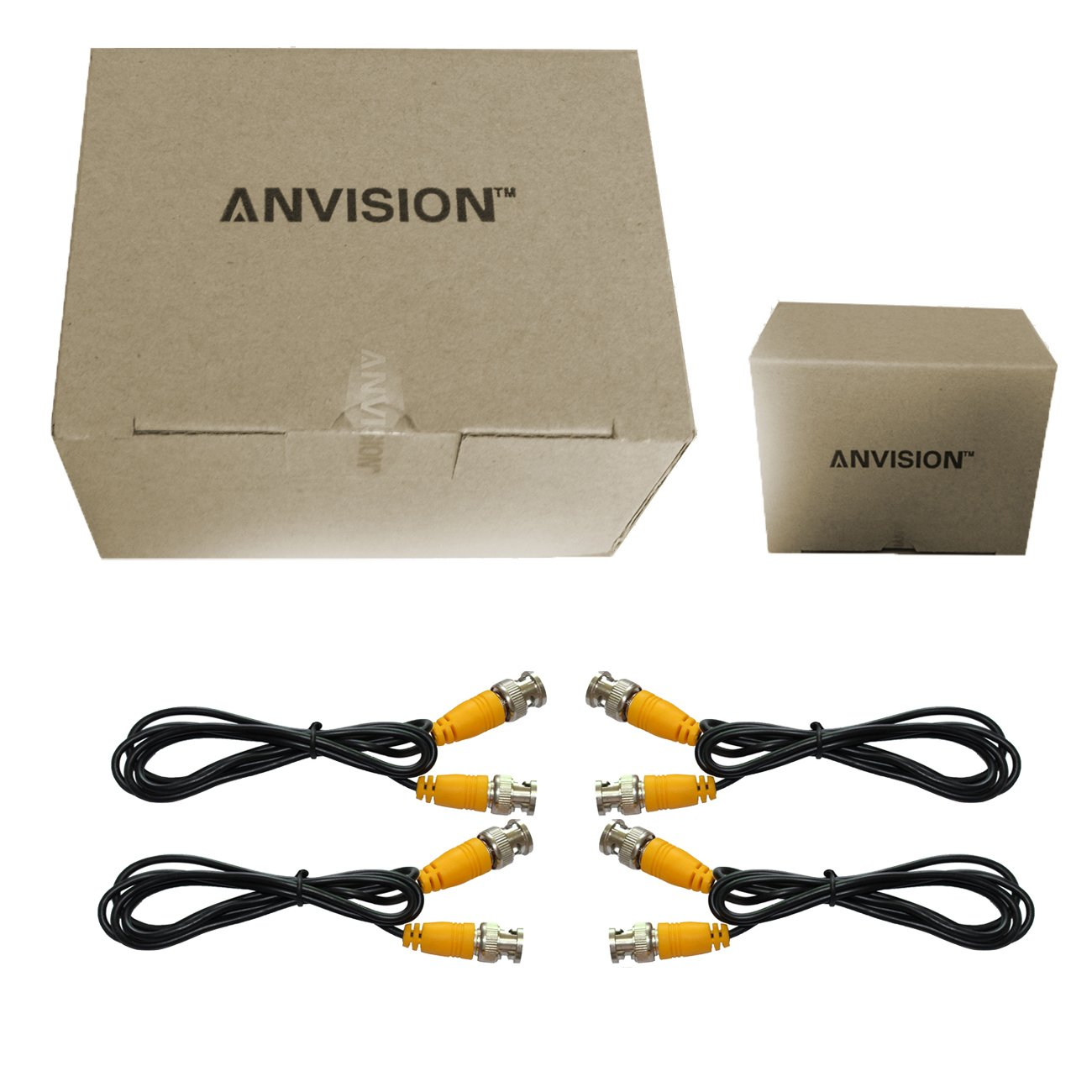 ANVISION 4-Packs Black 1m BNC Male to BNC Male Jumper Cable with Yellow Connector for CCTV DVR to TV System