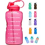 Giotto Large 1 Gallon/128oz (When Full) Motivational Water Bottle with Time Marker & Straw, Leakproof Tritan BPA Free for Fit