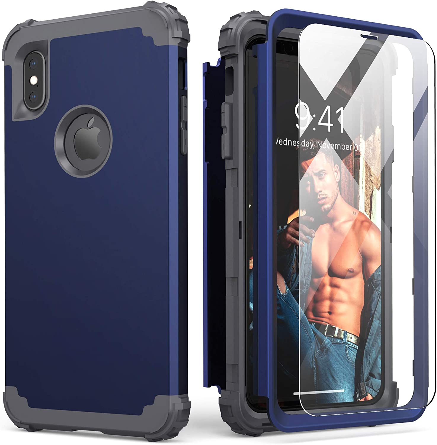 IDweel iPhone Xs Max Case with Tempered Glass, Hybrid 3 in 1 Shockproof Slim Fit Heavy Duty Protection Hard PC Cover Soft Silicone Rugged Bumper Full Body Case for iPhone Xs Max 6.5 Inch, Blue
