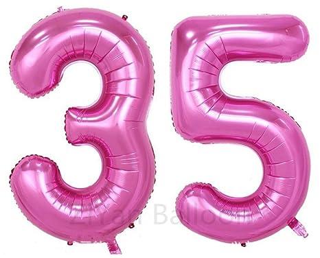 Amazon.com: Ziyan 40 inch gigante 35ª Rosa Número de globos ...