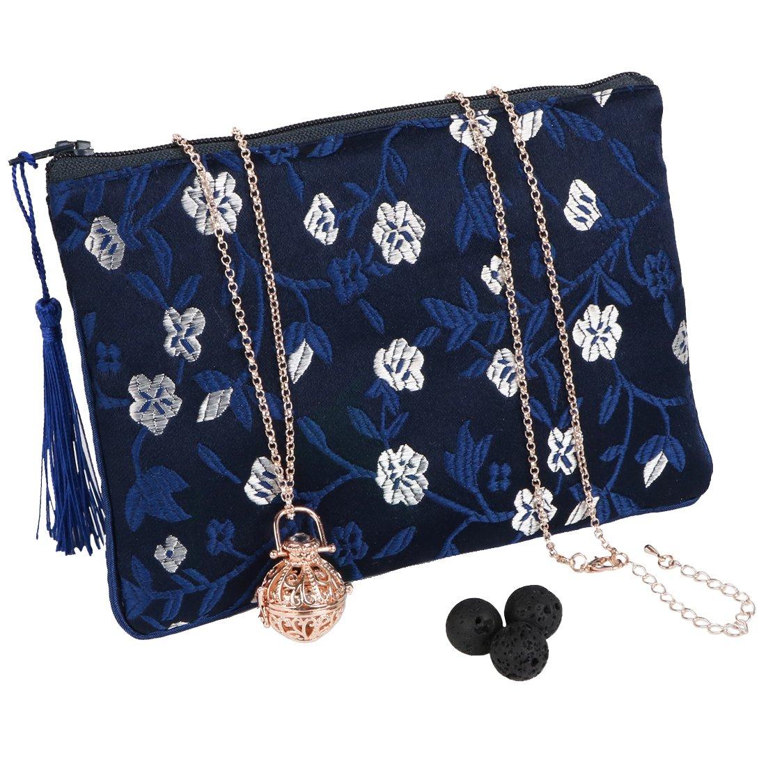 MyKazoe Essential Oil Diffuser Necklace (3 Lava Stones Included) With BONUS Essential Oil Storage Bag (Rose Gold/Navy Blue)