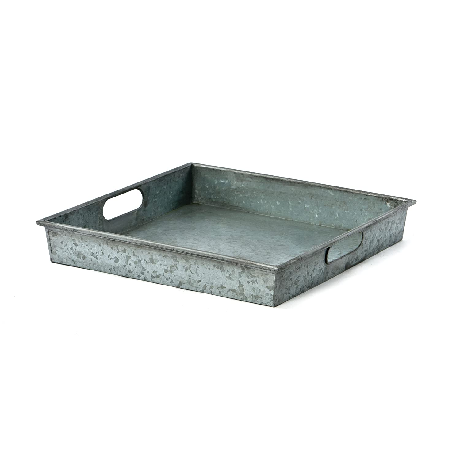 Skalny 82811S 15 D X 2.5 Square Galvanized Tin Tray with Handle