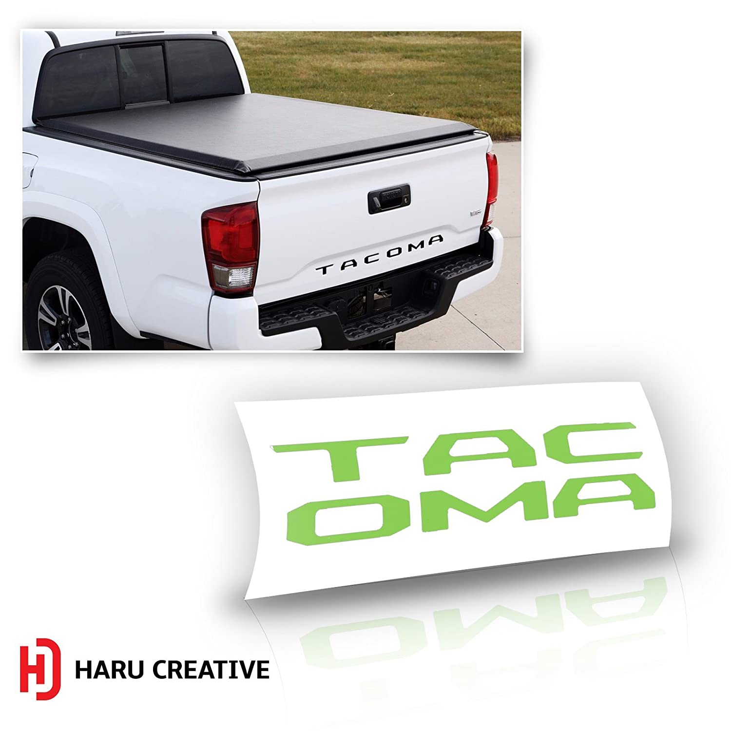 Gloss Green Haru Creative Rear Trunk Tailgate Letter Insert Decal Compatible with and Fits Toyota Tacoma 2016 2017 2018 2019