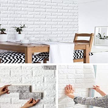 70*30cm Foam 3D Tile Brick Wall Sticker Self-Adhesive DIY White Wallpaper Panels