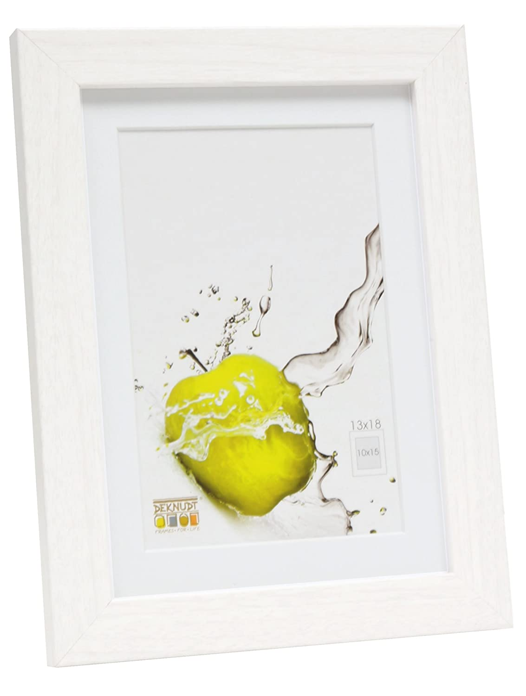 Deknudt Frames S66KF1-P1-13.0X18.0 - Cornice quadro/foto Basic con passepartout, bordi in legno/MDF, colore: Bianco,13 x 18 cm