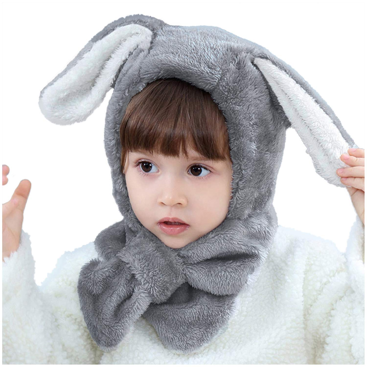 Bienvenu Toddler Boys Girls Lovely Animal Ears Thick Hood Fleece Hat with Neck Scarf for Autumn Winter