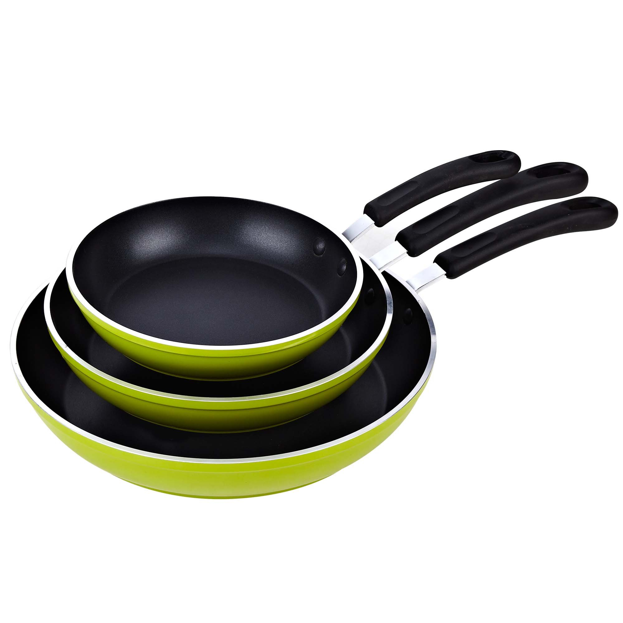 Cook N Home 8, 10, and 12-Inch Nonstick Fry Saute Pan 3-Piece Set, Green