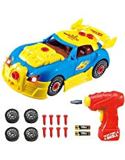 Take Apart Toy Racing Car Kit for Kids TG642 (Version2!!) - Build Your Own Car Kit Toy for Boys & Girls Aged 3+ - 30 Parts with Realistic Sounds & Lights by ThinkGizmos (Trademark Protected)