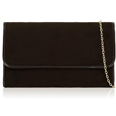 55c9feabfbd06 Xardi London Black Matt Look Suede Clutch Bag Vintage Women Wedding Formal  Flat Flap over Evening