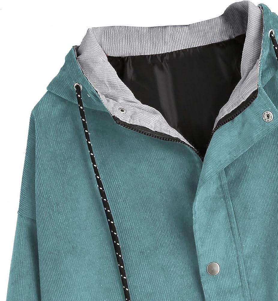 DEZZAL ZAFUL Womens Raglan Sleeve Drop Shoulder Color Block Corduroy Hooded Jacket