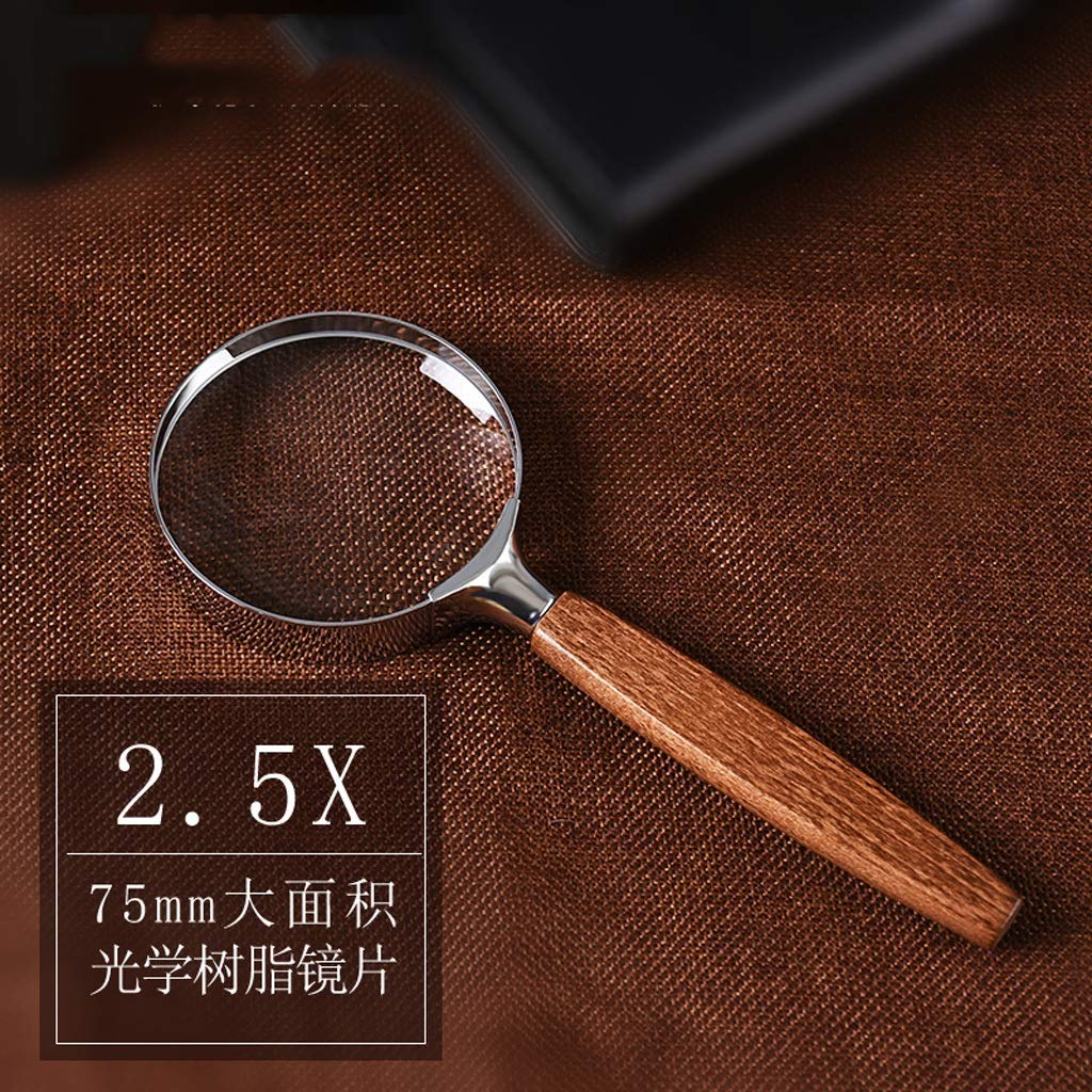 LF Handheld Magnifying Glass HD Men and Women Elderly Children Reading Low Vision Aid 2.5 Times Aspheric Resin Expansion Mirror