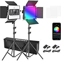 Neewer 2 Packs 530 RGB Led Light with APP Control, Photography Video Lighting Kit with Stands and Bag, 528 SMD LEDs…