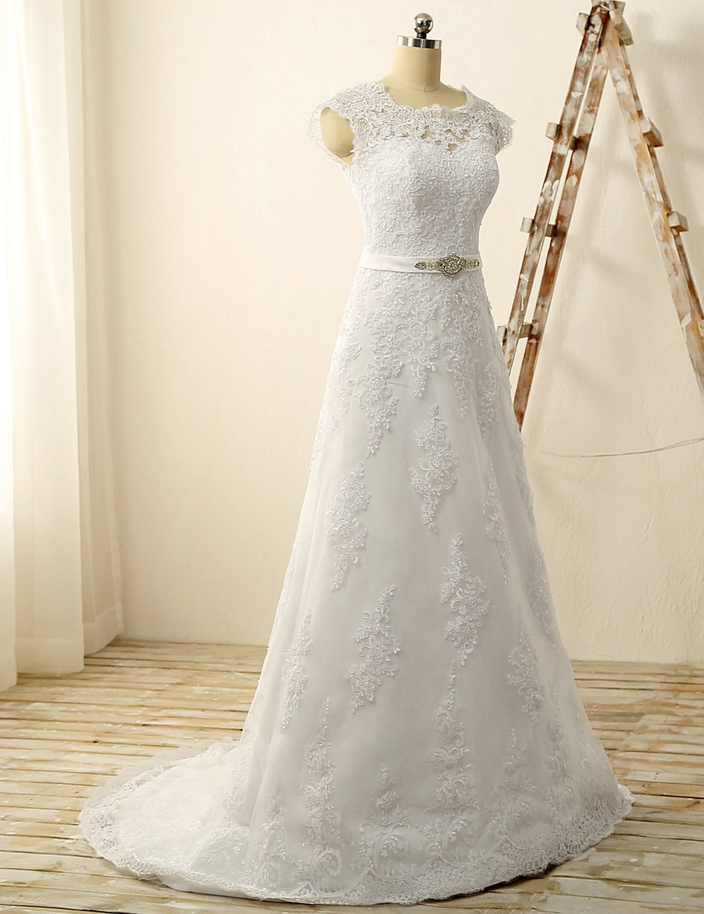 JAEDEN Lace Wedding Dress for Bride Mermaid Bridal Gown with Crysal Sash V Neck