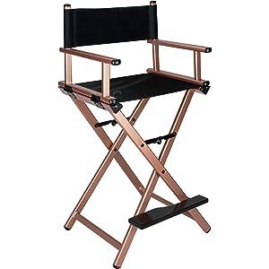 Ver Beauty Aluminum Director Makeup Chair, Rose Gold