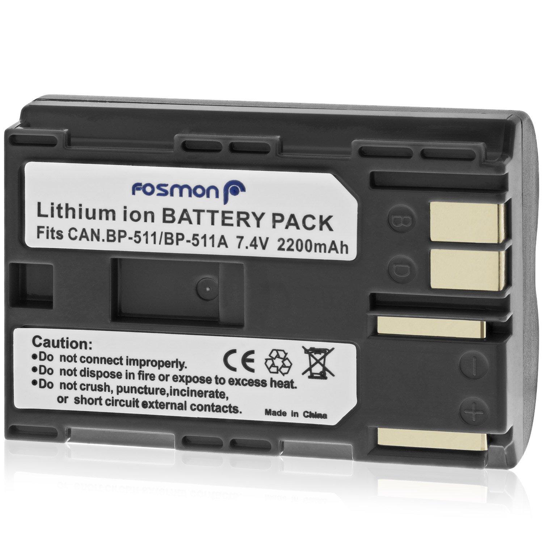 D60 // PowerShot G1 Fosmon Canon BP-511 // BP-512 Sostituzione Della Batteria Pack per Canon EOS 10D D30 G5 30D G3 20D 5D 40D 20Da 50D G6 // EOS Digital Rebel // Optura Xi G2