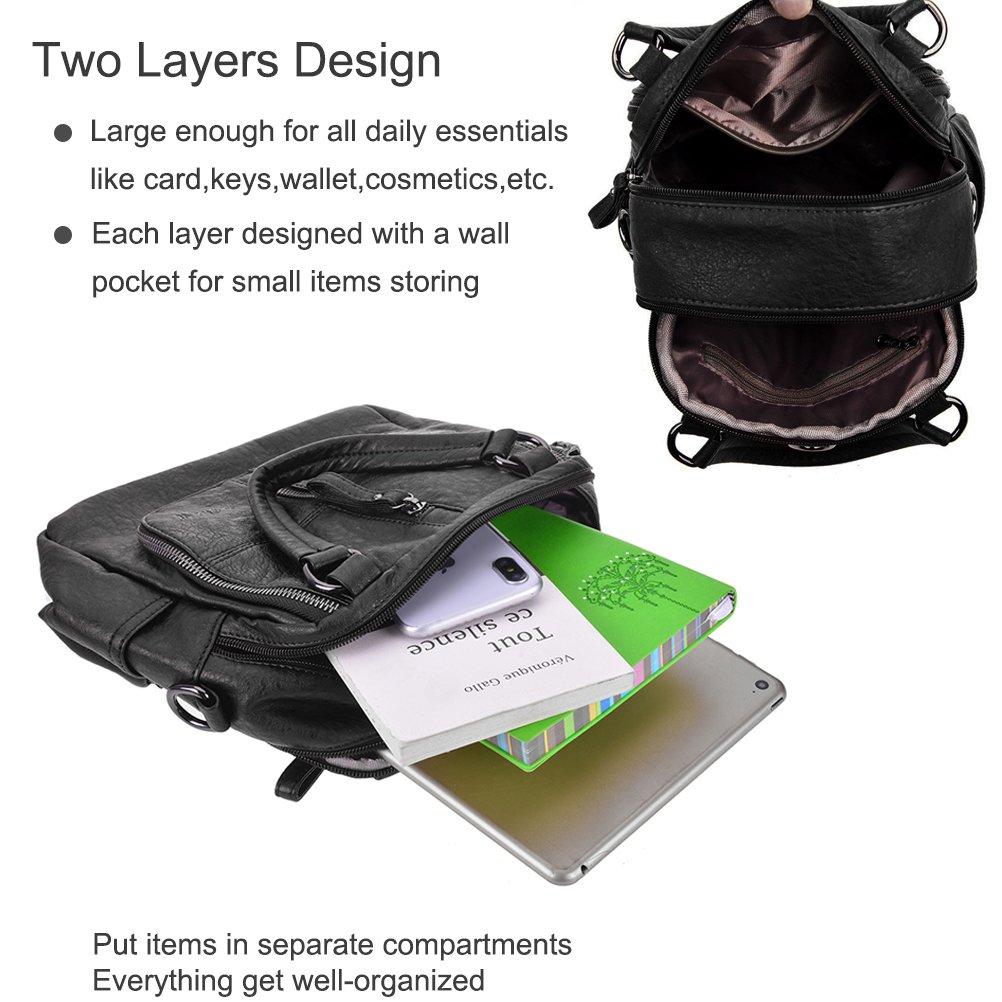a3eeb380c Women Backpack Handbags, YIMOJI Fashion Vintage PU Leather Casual Daypack  Small Travel School Bags for Women Girls (Black): Amazon.co.uk: Shoes & Bags
