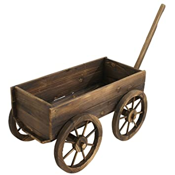 ZENY Patio Wooden Wagon Flower Planter Pot Stand W/Wheels Home Garden  Outdoor Decor