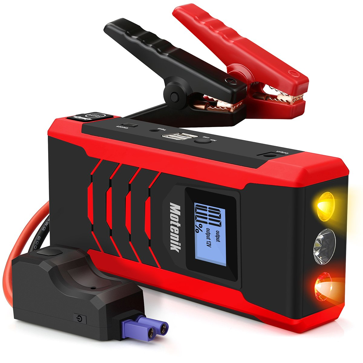 800A Peak Jump Starter with Emergency Light 4 Modes Motenik Car Jump Starter(Up to 6.5L Gas or 5.0L Diesel Engines) Auto Battery Booster Dual USB Power