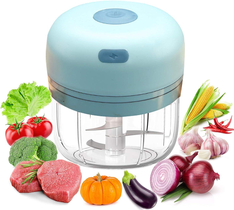 Electric Mini Food Garlic Vegetable Chopper Grinder Crusher Press, Meat Processor Blender, Multi-Function Cordless Masher Dicer for Vegetable Nut Fruit Onion (Green)