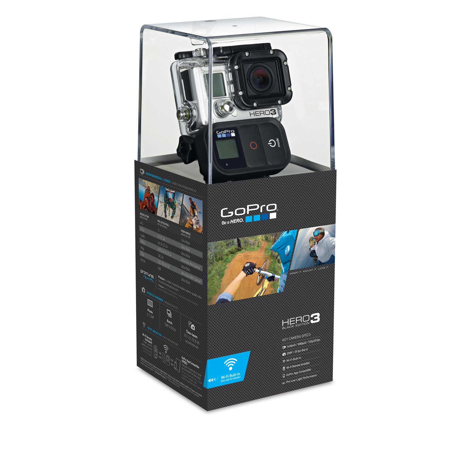 GoPro HERO3 Black Edition - Videocámara de 12 MP (estabilizador de Imagen óptico, vídeo Full HD 1080p, Resistente al Agua, WiFi) Color Negro