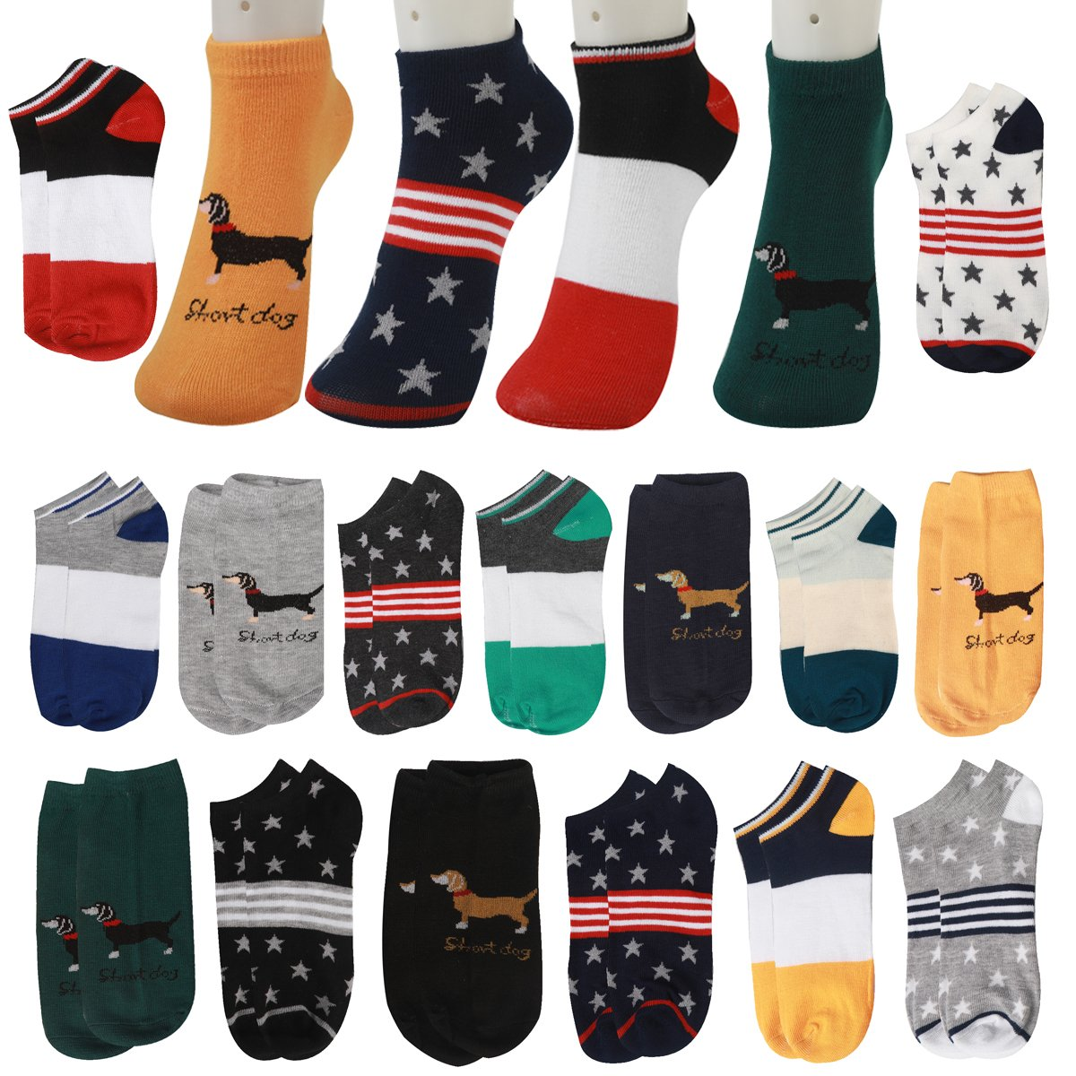 15 Pairs Dog Patterned Funny Funky Novelty Cotton Low Cut No Show Ankle Socks