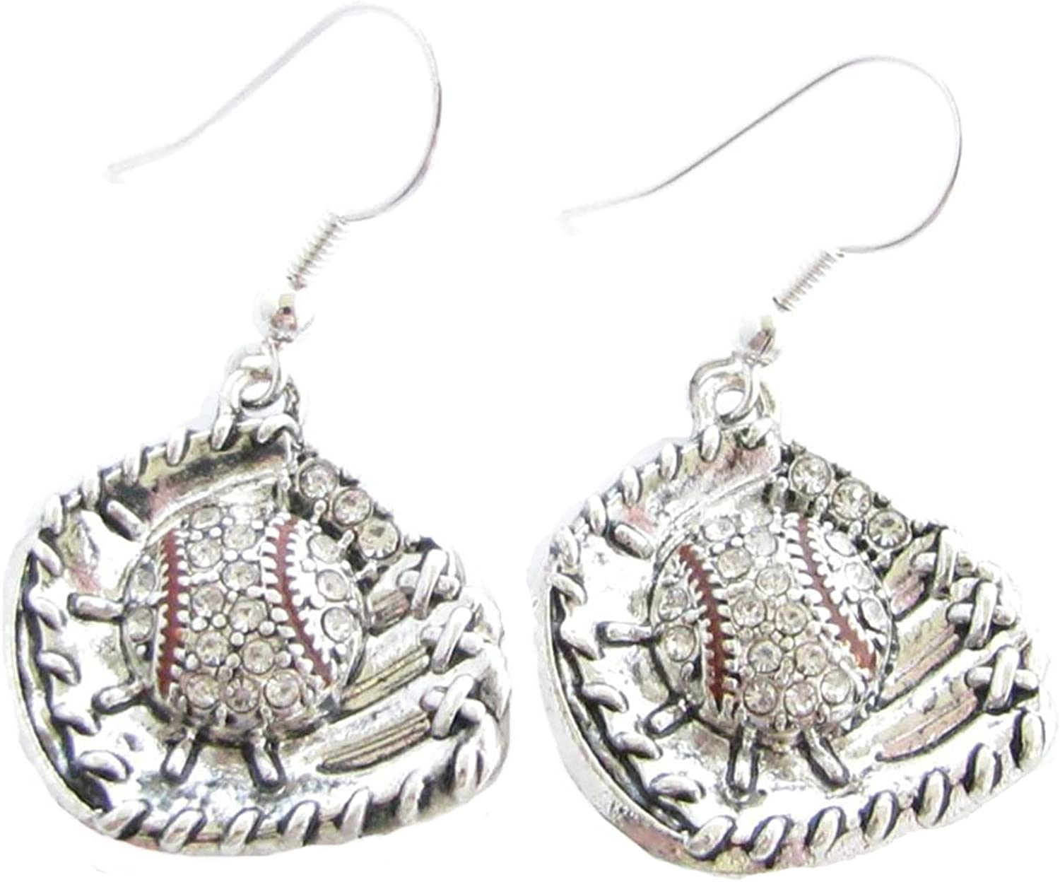 Baseball Glove and Ball Clear Crystals French Hook Earrings Sports Jewelry
