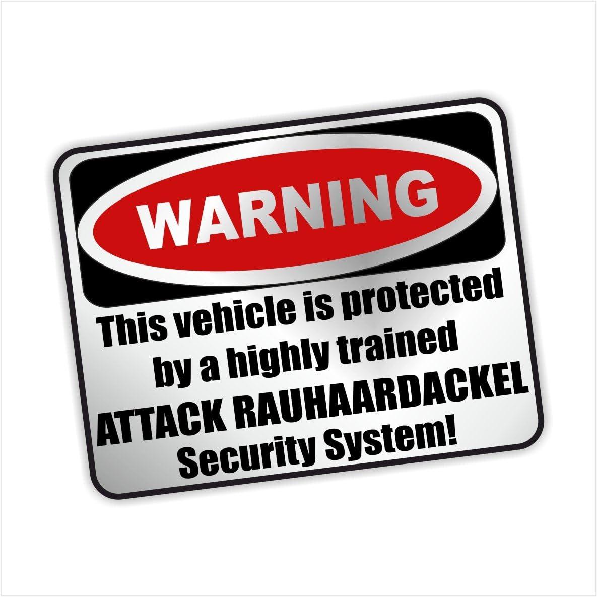 Siviwonder Auto Aufkleber Rauhaardackel Warning Alarmanlage Hundeaufkleber Silber Metallic Auto