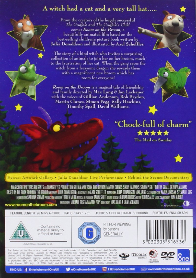 Room On The Broom [DVD]: Amazon.co.uk: Gillian Anderson, Rob Brydon, Martin  Clunes, Sally Hawkins, Simon Pegg, Timothy Spall, David Walliams, Max Lang,  ... Part 68
