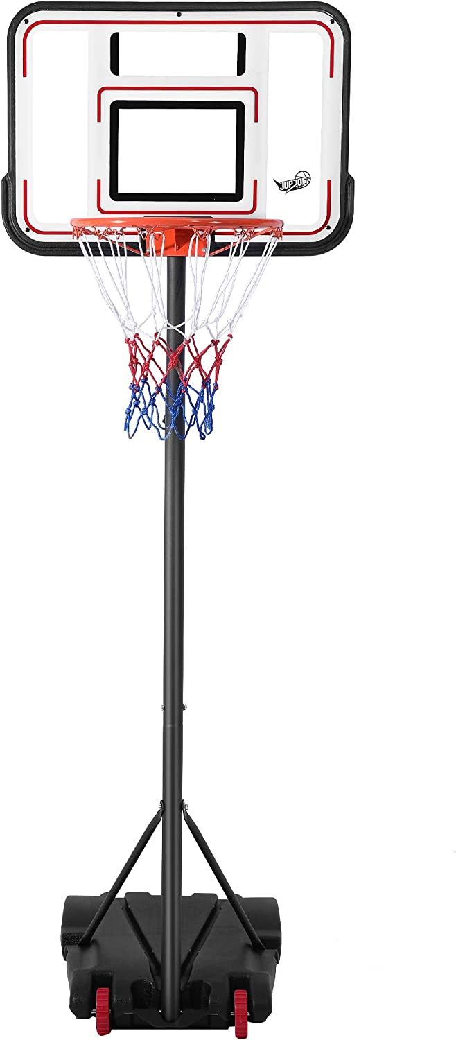【Send on The Same Day】 JUPDOG Basketball Hoop Portable Adjustable Height Poolside Basketball Stand System for Youth Kids Teenagers Indoor Outdoor with 30 Width PVC Backboard 2 Nets Wheels