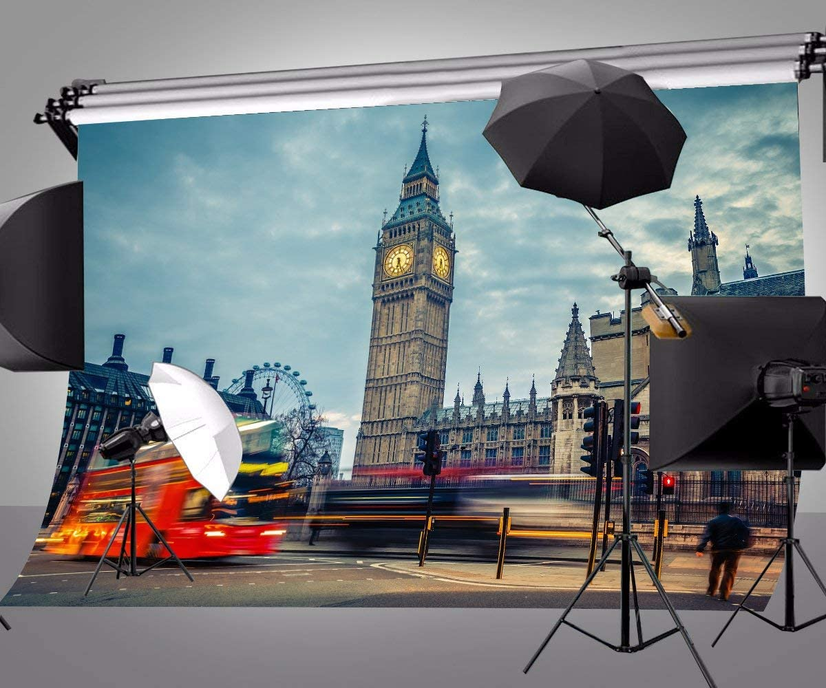 GoEoo 10 x 7 ft Polyester London Big Ben Photography Backdrops Photo Studio Props Street Bus Background Room Mural 107-94