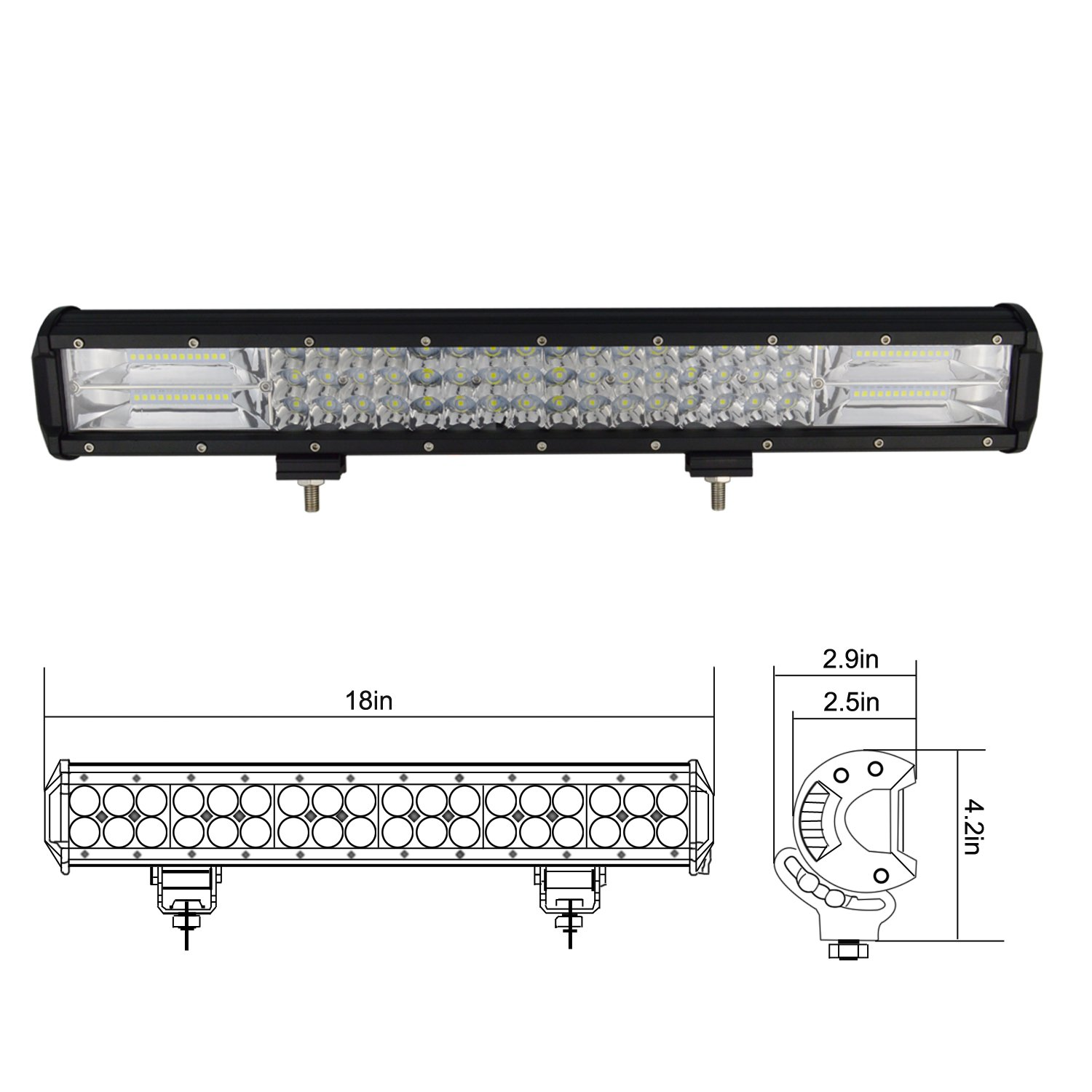 Willpower 15 Inch 216W Triple Row Flood Spot Combo Beam Led Bar Driving Boat Off Road Lights for Jeep SUV Truck ATVs 15 inch