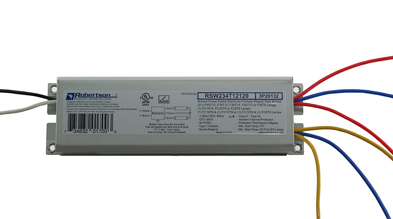 ROBERTSON 3P20132 Individual Fluorescent eBallast, 2 F40T12 Linear Lamp, Preheat- Rapid Start, 120Vac, 50-60Hz, Normal Ballast Factor, NPF, Model RSW234T12120 /A (Replaces Model RSW240T12120 /B) Robertson Worldwide CECOMINOD055838